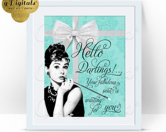 Breakfast at Tiffany's Sign, hello darlings Audrey Hepburn party supplies 8x10 instant download, themed bridal shower {Lace Blue}