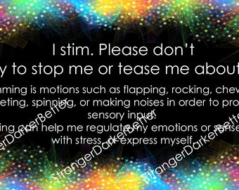 Stimming Communication Card Rainbow Glitter For Adults and Teens Digital File
