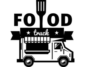 Food Truck Mobile Restaurant Fast Grill Logo Bbq Grilling Picnic Steak SVG EPS