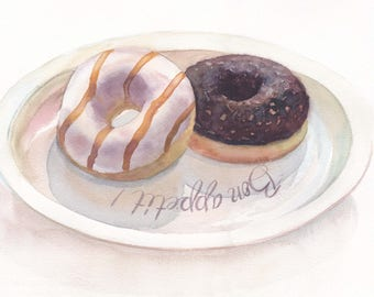 Original watercolor art / White glazed donut with chocolate glazed donut on the plate / Bon appetite / Gift for sweet-tooth / Wall art decor
