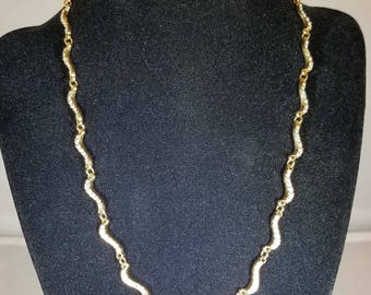 Vintage-Swarovski-Necklace-Gold-Crystals-Swiggly-Chain Jewelry-Accessories