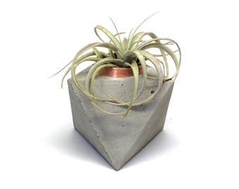 Concrete and copper octahedron planter, air plant holder, or candle holder