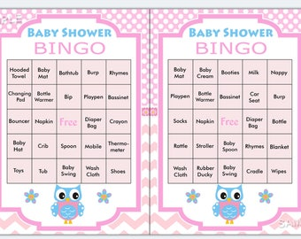 Owl baby shower bingo, 60 Owl Baby Shower Bingo Cards - 60 Prefilled Bingo Card  , Printable Blank Bingo Cards AND PreFilled Cards