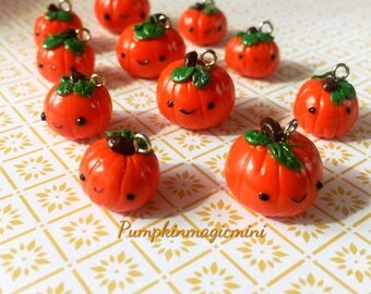 Handmade Kawaii Pumpkins Necklace, Miniature Food, Food Jewelry, Polymer Clay food