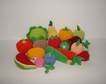 Set of 17 fruits  and vegetables,play food,Kids gift crochet toys,Handmade gifts