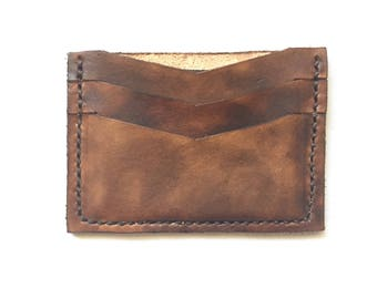 Hand-stitched leather minimalist wallet