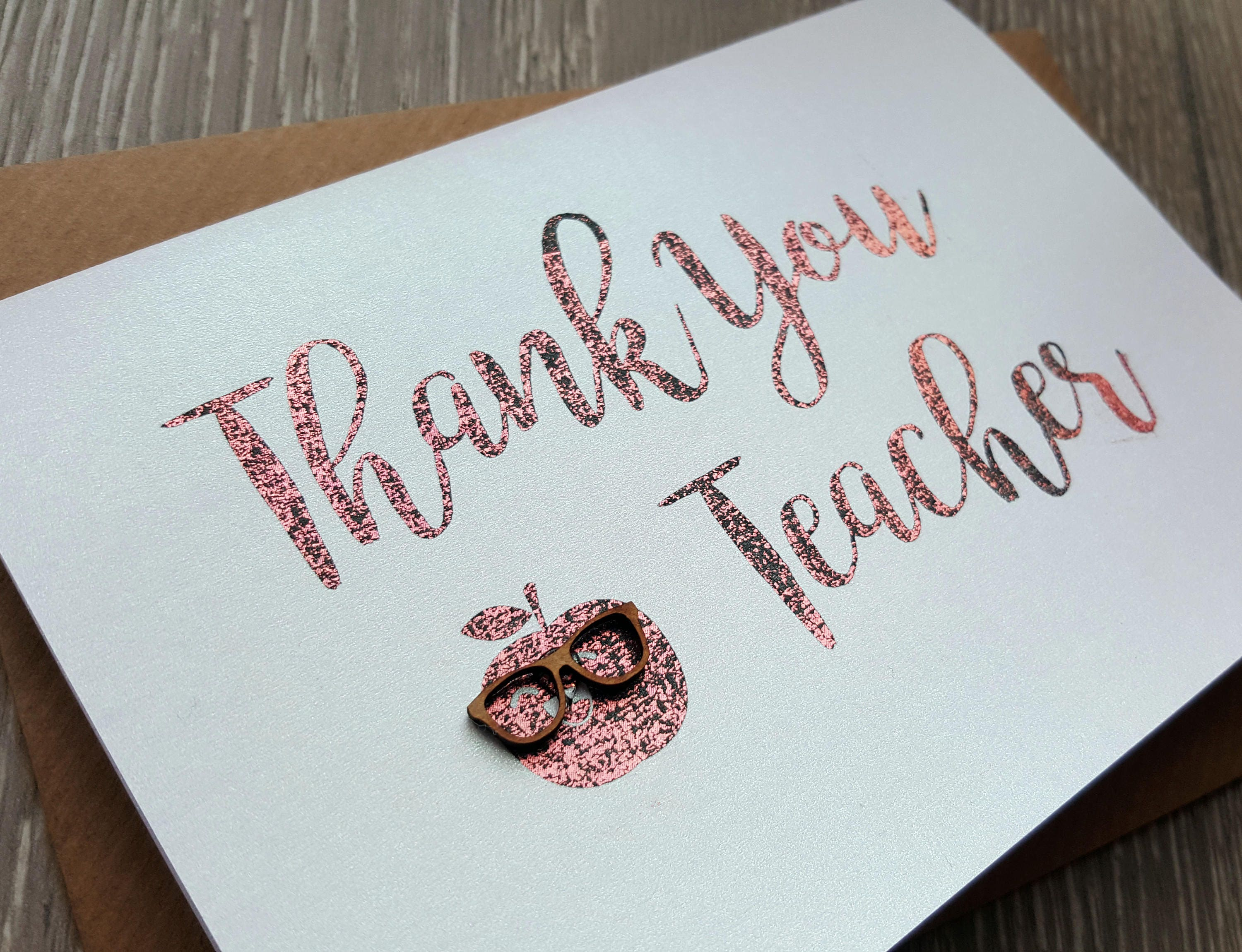 Luxury Hand Foiled Thank You Teacher Card Metallic Card Thank