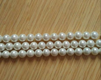 One Strand White Pearl Shell 6 8 10mm Round Beads for Fashion Necklace Bracelet Earrings Jewelry DIY Making - DY001994
