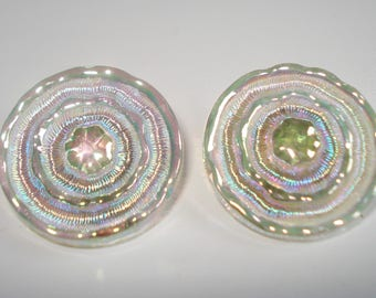 Vintage Carnival Glass Clip On Earrings Large Iridescent Mid Century