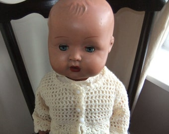 "Sweet 1930,s Vintage Wood Composition Baby Boy Doll 21"" tall"