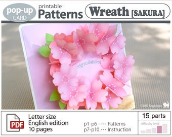 printable patterns_wreath[sakura]_pop-up card_(digital download file)