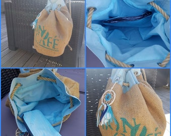 Recycled burlap canvas tote bag.