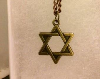 Bronze Star of David necklace