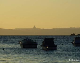 Three boats in the sunset. Wall art. Malta.