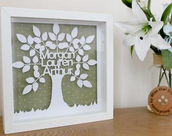 Family tree, Family, Personalised, Papercut Frame - Parent, Grandparent