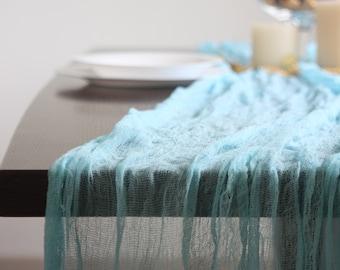 Turquoise Gauze runner, Table runner for Wedding, Wedding Decor, Cheesecloth Runner, Colored Gauze Runner