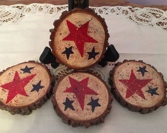 Set of 4 Red, White and Blue Americana Wood Slice Coasters