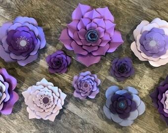 Giant Purple Paper Flowers