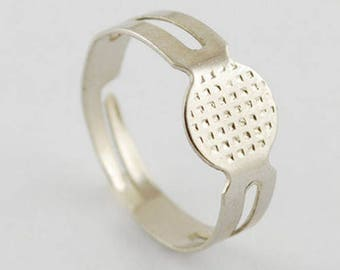 10 support of adjustable rings with sieve silver 17 mm x 8
