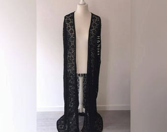 H&Nora Black Lace Throw On Cape