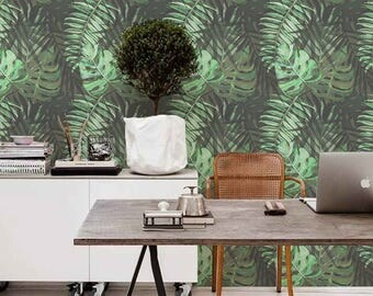 Removable wallpaper -Tropical Composition Wallpaper - Tropical Wallpaper - Leaves Wallpaper - Monstera Leaves - Wall mural - Wall Decor