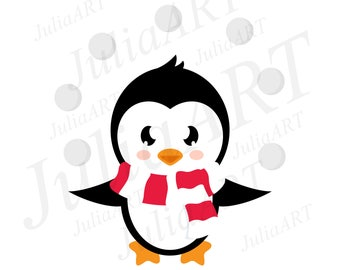 cartoon cute penguin with snowball