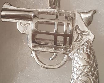 Sterling Silver Gun Pistol Pearl Cage Pendant