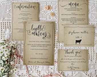Calligraphy Wedding Invitation Suite