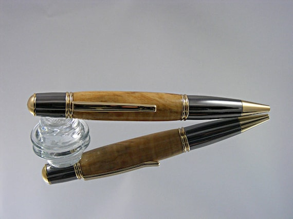 Ink Pen in Gatsby Style in Gold with Gun Metal and Spalted Maple