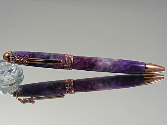 Handcrafted Breast Cancer Awareness Ink Pen in Rose Gold and Magenta/Violet Acrylic