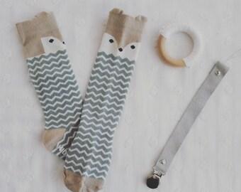 Baby chevron fox knee high socks 0-1 yr