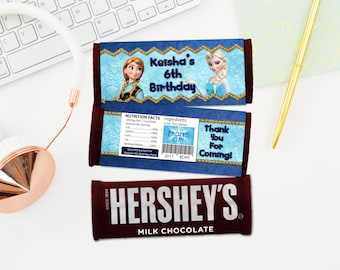 Personalized Frozen Hershey's Chocolate Bar Wrapper Elsa Anna Birthday Party Favor Favors Wrappers Labels Label Printable DIY - Digital File