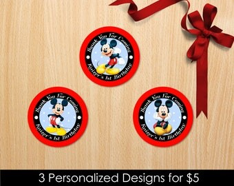 Personalized Mickey Mouse Cupcake Topper Birthday Party Baby Shower Round Tag Label Labels Favor Stickers Tags Printable DIY - Digital File