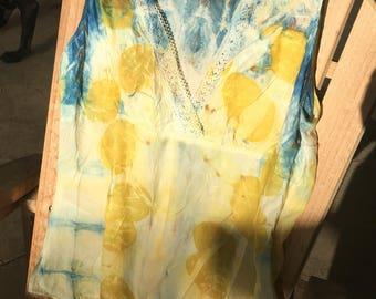 Ecoprinted Silk/Cotton blend sleeveless blouse