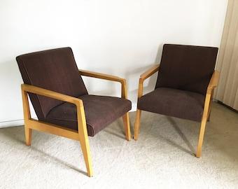 vintage mid century (2) Jens Risom lounge chair pair