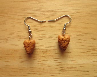 Golden Heart Earrings, polymer clay earrings, rustic jewelry, anniversary jewelry, gift for her
