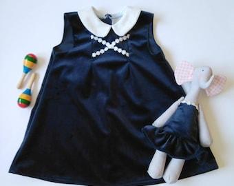 Velvet Baby Girl Dress | Navy blue baby girl dress | Winter baby girl dress