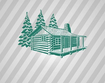 Cabin In Pines Silhouette -  Svg Dxf Eps Rld Rdworks Pdf Png Ai Files Digital Cut Vector File Svg File Cricut Laser Cut