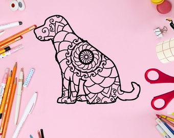 Mandala, Animal Mandala Svg, Labrador Retriever Sitting Mandala Svg, Monogram, Mandala Svg, Mandala, Mandala Labrador Retriever Sitting Svg