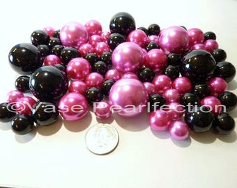 Valentine Hot Pink Pearls/Fuchsia Pearls and Black Pearls Vase Fillers in Jumbo & Assorted Sizes for Centerpieces