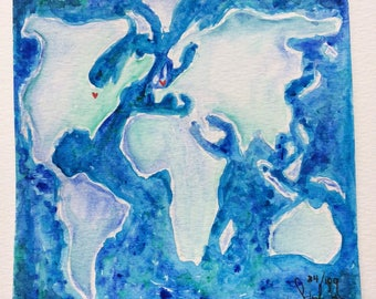 Watercolor World Map Long Distance