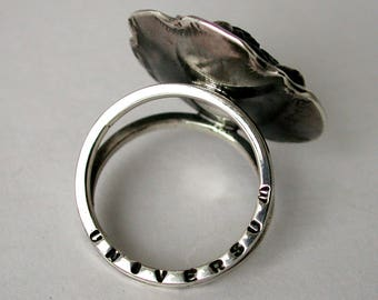 Silver ring with meteorite Sikhote-Alin.