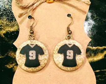 New Orleans Saints Jersey Earrings  # 9 (Round)  1 pair