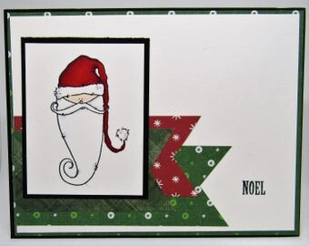 Handmade Card - Christmas Card - Simple Santa (Noel) - Santa Claus Card - Hand Made Card - Paper Craft - St. Nick Card - Red and Green Card