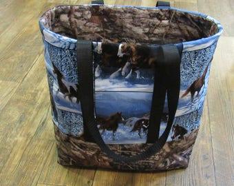 Winter horse-theme tote, Handmade.