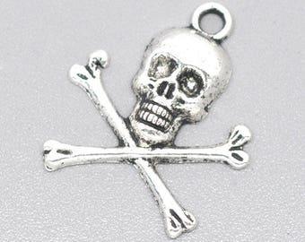 1 pendant skull pirate metal 24 x 21 mm