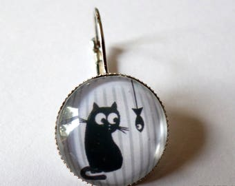 SOLD to the PIECE, earring, cabochon glass, cat and fish