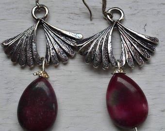 Earrings Perle de plum/green JADE