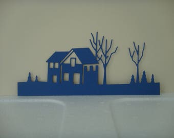 Cut out House Navy with landscape for scrapbooking and card