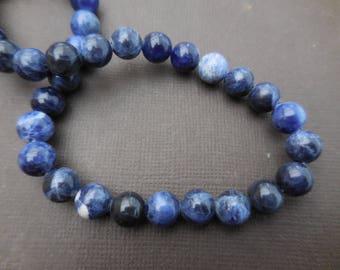 Sodalite: 10 mm round beads 8 - precious stones blue